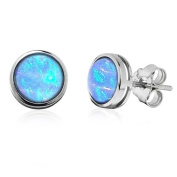 Blue Opal Stud Earrings, Sterling Silver with cultured opals in a presentation box