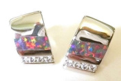 StonesandSilver, Multicoloured Synthetic Opal, Silver and CZ Studs