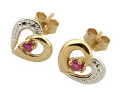 9ct Yellow Gold Ruby Heart Stud Earring