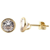 9ct Gold Clear CZ Round Roll Over Stud Earrings 1-57-4373