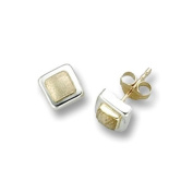 9ct gold square stud earrings
