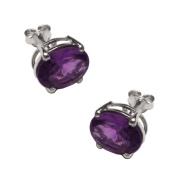 Handmade Oval Amethyst Gemstone 925 Sterling Silver Stud Earrings