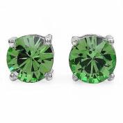 Jewellery-Schmidt-Earrings / Studs peridot coloured Zirconia -925 Silver-Rhodium-1, 80-carat