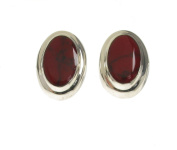 Big and Bold Red Jasper Button Earrings