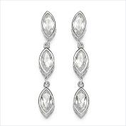 Jewellery-Schmidt-Earrings / Stud Earrings White Cubic Zirconia Drop Silver Rhodium-3, 18 carats