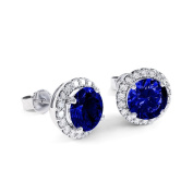 2.7ct Sapphire and Diamond White Gold Halo Stud Earrings