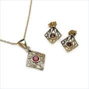 Jewellery-Schmidt-SET Antique garnet pendant, necklace, earrings, silver plated in 10-carat