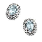 Aquamarine And Diamond Set Stud Earrings In 9ct White Gold.
