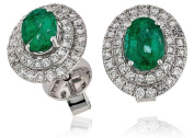 2.20CT Certified G/VS2 Oval Shape Emerald Centre with Micro Set Oval Shape Halo Diamond Stud Earrings in 18K White Gold