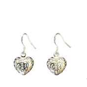 Silver Ladies Filigree Open Heart Hook Wire Earrings gift box included.