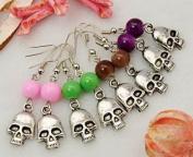 Beaded Gothic Halloween Skull Earrings