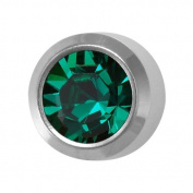 Studex Ear Piercing Silver Coloured Stainless Steel Birthstone Stud Earrings 4mm Bezel Setting - May / Emerald