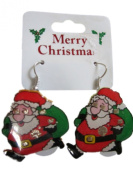 Novelty Flashing Christmas Santa and Sack Drop Fashion Earrings