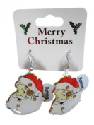 Novelty Flashing Christmas Santa Face Drop Fashion Earrings