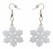 Zest Iridescent White Glittered Snowflake Christmas Earrings - Pierced Ears