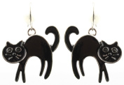 Zest Black Cat Halloween Earrings - Pierced Ears