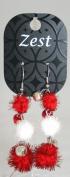 Zest Christmas Red Tinsel Jingle Bells Dangly Earrings for Pierced Ears
