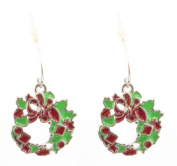 Zest Glittered Green and Red Christmas Wreath Drop Earrings