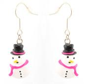 Zest Christmas Snowman With Hot Pink Scarf Drop Earrings for Pierced Ears