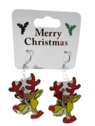 Novelty Flashing Christmas Reindeer Face Drop Fashion Earrings