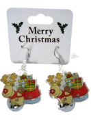 Novelty Flashing Christmas Reindeer and Sleigh Drop Fashion Earrings