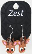 Zest Brown Rubber Christmas Rudolph Earrings - Pierced Ears