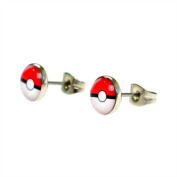Jewellery of Lords Pair of 8mm Pokemon Pokeball Stainless Steel Stud Earrings Disc Saucer Pikachu