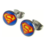 Jewellery of Lords Superman Super Hero Acrylic & Surgical Stainless Steel Satellite Stud Earrings