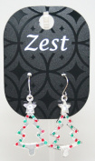 Zest Silver Look Christmas Tree Earrings with Red & Green Balls for Pierced Ears