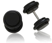 Pair of Black Round Fake Ear Plug Earrings (11mm including rubber o-rings) Silver Stainless Steel and Black Plastic (Will not tarnish/fade) Supplied in Gift Pouch - 16 Gauge