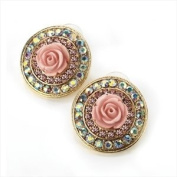 Gold colour pink and rose crystal round earring.