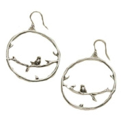 Vintage Style Antique Silver Hoop Earrings with Birds on Branches Design (Supplied in a Gift Pouch) Unique Jewellery