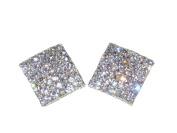 (6140-14) large square bling diamante earrings silver