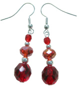 ~RED WINE~ HANDCRAFTED CRYSTAL GLASS DANGLE EARRINGS.. !! FREE UK 1ST CLASS SHIPPING !!