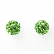 Toc Sterling Silver Green Austrian Crystal Disco Stud Earrings