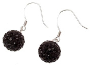 Shamballa style earrings 925 silver and black crystal disco ball design 114258