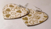 Ladies fashion earrings silver coloured metal heart with pink glittery front - 11828