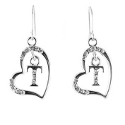 Clear Crystal on Silver Plated Initial Earrings - T