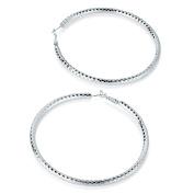 Silver Diamond Cut Large Hoop Earrings AJ27819