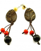 Jewellery Of The Planet Brazilian Brown And Red Handmade Coconut Tribal Leaf Earrings