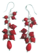 Red Coral Earrings on 925 sterling silver hooks