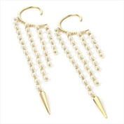 One Pair Gold And Cream Pearl Colour Ear Hook EarringSize:- 22 CM
