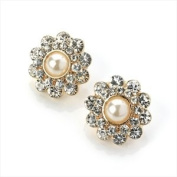 Gold And Cream Pearl Colour Crystal Diamante Flower Earrings