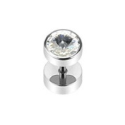Urban HQ 316L Surgical Stainless A Single Steel Fake Screw Fit Plug Earring with Clear. Crystal Top