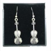Pewter Earrings Violin