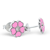 Pair of Small Pink Flower (with Clear Crystal Stone) Sterling Silver Stud Earrings (0.8cm x 0.8cm) Supplied in Gift Bag