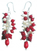 Red Coral & Pearls Earrings on 925 sterling silver hooks
