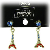 Souvenirs of France - Paris Earrings with Eiffel Tower and. Crystal