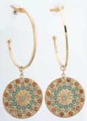 Zest Blue and Amber. Crystal Golden Disc Hoop Earrings for Pierced Ears