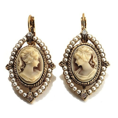 Vintage Cameo Pearl Style Drop Earrings (Burn Gold)